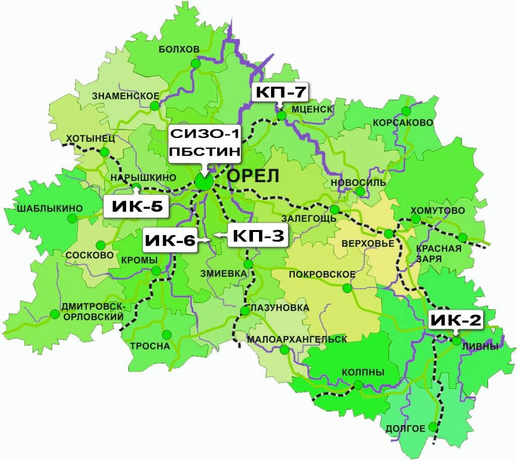 Схема исправительных учреждений Орловской области